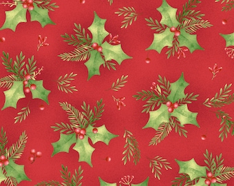 Christmas Fabric, Holly Fabric - Songbird Christmas by Pez Costa for Maywood Studio 8135 MR  Red  - Priced by the 1/2 yard