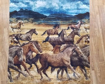 Wild Horses Fabric - Scenic Running Horses - Prairie Horses - Wild Mustangs - Linda Ludovico - Northcott DP 23031 34 - Priced by the YARD