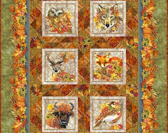 """Our Autumn Friends Quilt Kit - In The Beginning Fabric - finishes 56"""" x 72"""" - Olive Version - DIY Project - Fabric Bundle"""