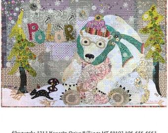 "Polar Bear Collage - Laura Heine Pattern - Applique Quilt - 38""x25"" - DIY Pattern Or Kit Option - full size template"