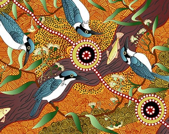 Australian Fabric - Bird Print - Aboriginal Fabric - Nambooka -  Kingfisher - Yellow - Priced by the half yard