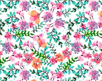 Summer Floral - David Textiles  Beautiful Ride Garden Collection - DX 00828C1 White -  Priced by the 1/2 yard
