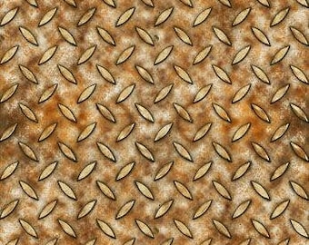 Metal Texture Fabric, Texture Grid, Diamond Plate, Full Steam Ahead - Dan Morris, Quilting Treasures - 25789 A Brown - Priced by the 1/2 yd