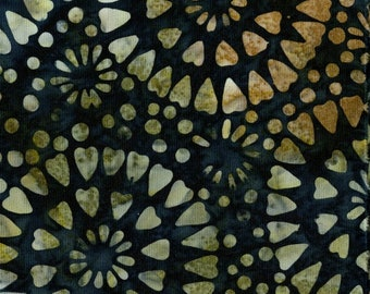 Amazon Batik Fabric - Circle Heart - Blank Quilting - 9221 99 Black Brown - Priced by the half yard