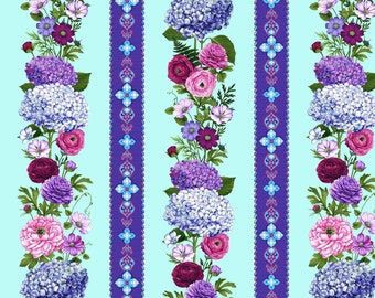 Hydrangea Summer Floral fabric - Dragonfly Garden collection by Color Principle for Henry Glass - 2461 11 Sky Blue - Priced by the 1/2 yard