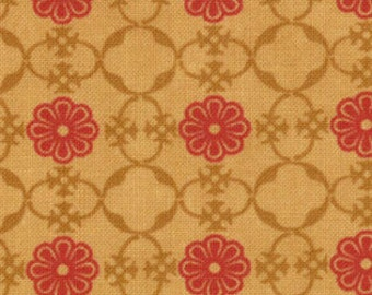 Floral Medallions Fabric - Red & Gold - Circa 1934 Astaire by Cosmo Cricket for Moda Fabrics 37005 13 Gold Red - Priced by the 1/2 yard