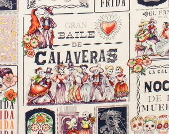 Alexander Henry Day of the Dead Fabric - Folklorico Baile de Calaveras - Dance of the Skulls - 7924 A Tea - Eggplant - Priced by the Yard
