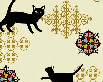 Cat Fabric, Black Cat - Neko 2 by Hyakka Ryoran for Quilt Gate HR 3170 12 A - White - Priced by the Half Yard