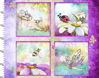 In the Meadow  Birds Bees Ladybug Butterfly - Connie Haley - Fabric Edition 3 Wishes - 14492 Priced by the 36-Inch panel