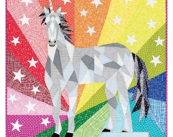 "Unicorn English Paper Piecing Pattern by Violet Craft - finishes 20""x20"" block - Templates & Instructions ONLY"