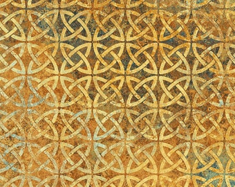 Solstice Fabric - Stonehenge 10th Anniversary - Celtic Circle - Northcott  39429-56 Gold - Priced by the 1/2 yard
