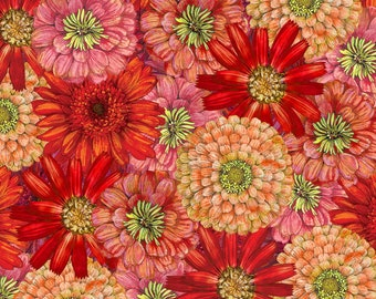 Floral Fabric - Blossom & Bloom - Blooming Flowers - John Christopher Wilmington Fabrics - 74202 385 Red - Priced by the half yard