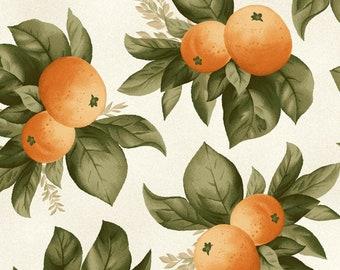 Orange Fruit Fabric - Fruit Cluster Fabric - Fruitful Life by Maywood Studios MAS 9323 Orange - Priced by the 1/2 yard