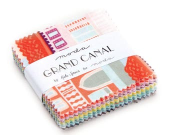 Moda Grand Canal, Kate Spain, Venice Canal, Venezia - 27255 candy 2.5 Inch Square - Mini Charm - priced by the each (42 pieces per pack)