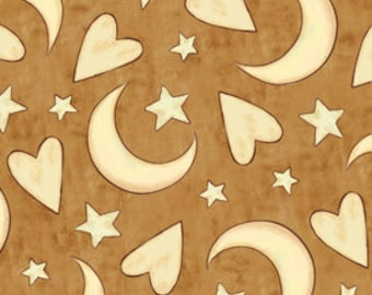 Moon Stars Heart Fabric -  Expressions of Faith - Bethany Shackleford for Quilting Treasures 23608 A Brown - Priced by the 1/2 yard