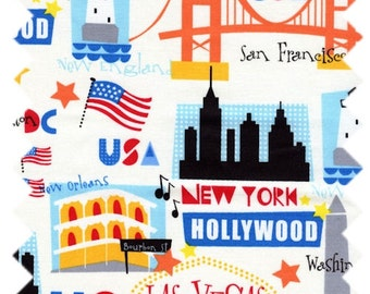 USA Skyline Fabric - Travel from Timeless Treasures - C9713 Ivory - Priced by the 1/2 yard