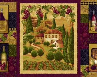 Tuscany Panel, Wine Country, Italian Villa, Wine Bottle, Italian Fabric - Tuscany - Color Principle - Henry Glass 8473P 89 - Per Panel