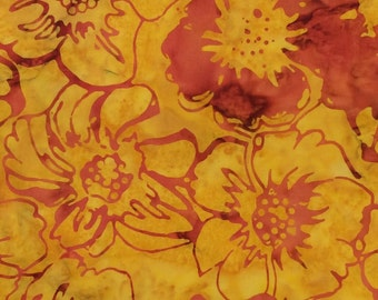 Flower Batik Fabric - Artisan Indonesian from Majestic Batiks - CB 425 Yellow & Red,  Priced by the 1/2 yard