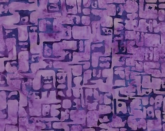 Square Purple Batik Fabric - Artisan Indonesian from Majestic Batiks - CB 351 - Purple, Priced by the 1/2 yard