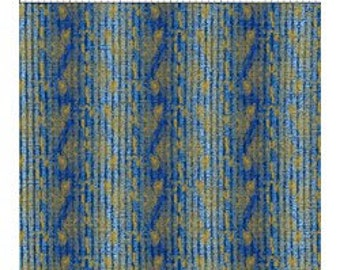 Floral Stripe Fabric - Metallic Stripe Fabric - Dreamscape - In The Beginning Jason Yenter 6JYD Blue - Priced by the 1/2 yard
