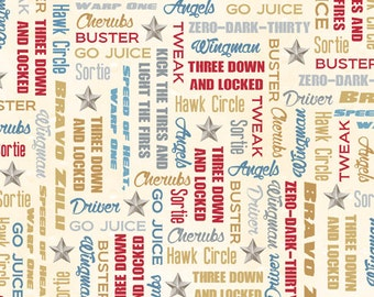 Aviation Phrases Fabric - Smithsonian Wingman by Quilting Treasures 23616 E - Cream - Priced by the 1/2 yard