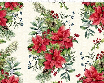 Poinsettia Garland Border - Poinsettia Winter - Floral bouquet - Christmas Fabric - In The Beginning - 1APW 1 - Priced by the 1/2 yard