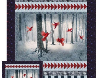 "Winter Cardinal Pattern - Quilt Pattern - Quilt Woman By Diane McGregor - Finishes 54""x72"" - Pattern ONLY"