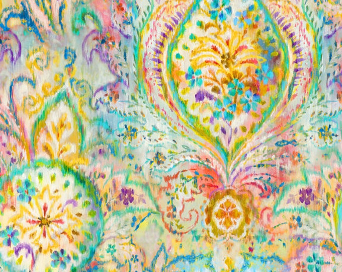 Featured listing image: Bohemian Dreams Fabric - Boho Paisley - Danhui Nai for Wilmington Prints - 89190 154 Golden - priced by the half yard
