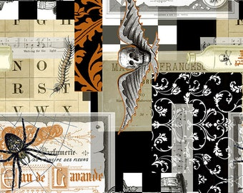 Spiders & Documents - Boo Brew -  Gothic Fabric - Halloween Collage - Timeless Treasures - C7079 Black - Priced by the half yard
