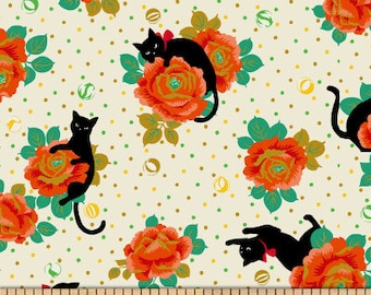 Cat Fabric - Black Cat - In the Rose Garden Neko IV by Hyakka Ryoran for Quilt Gate HR 3270 13A - White Orange - Priced by the Half Yard