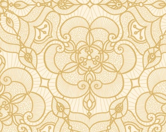 Lacy Fabric - Luminous Lace - Lace Medallion - Quilting Treasures QT Basics  - 24432 E Cream Gold - Priced by the 1/2 yard