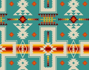 Tucson Blocks - Blanket Design  - Southwest Fabric by Elizabeth Studio 468 Turquoise - Priced by the half yard
