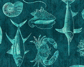 Ocean Oasis, Fish Fabric, Fish Blueprint - Dan Morris for Quilting Treasures - 25831 Q Dark Lagoon (Turquoise) - Priced by the Half Yard