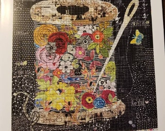 """Flower Spool Collage - Laura Heine - Applique Quilt - Spool of Flowers  25""""x26""""  - DIY Pattern Or Kit Option - full size reusable template"""