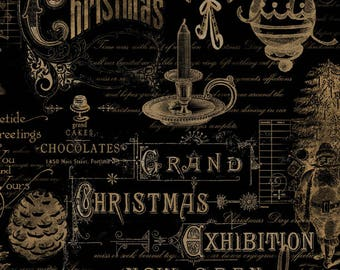 Christmas Fabric - Christmas in The Wildwood Ephemera by Nancy Mink for Wilmington 33809 922 Black & Gold - EOB 27-Inches