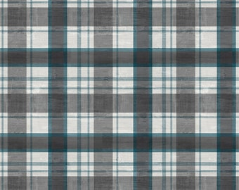 Plaid Fabric - A Day at the Lake - Laura Marshall for Wilmington Fabrics - 59105 949 Blue Gray - Priced by the half yard