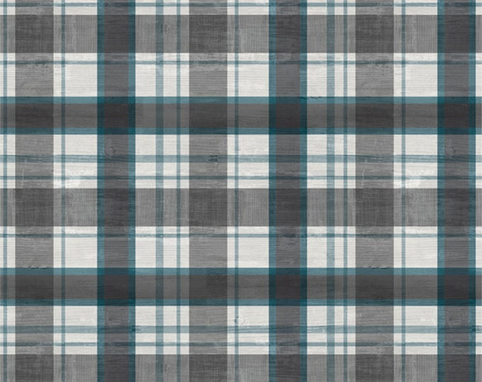 Featured listing image: Plaid Fabric - A Day at the Lake - Laura Marshall for Wilmington Fabrics - 59105 949 Blue Gray - Priced by the half yard