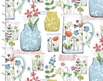 Summer Vase Floral - Wild flower  - 3 Wishes Fabric Farm Fresh by Flora Waycott Collection 13798 - Priced by the 1/2 yard