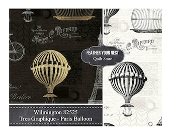 Paris Fabric, Tres Graphique, Eiffel Tower, Hot Air Balloons, Bicycle -  Toile Wilmington - 82525 Black or Ivory - Priced by the Half Yard