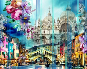 Hoffman Wanderlust Blossom - Floral Scenic Digital Print - Scenes from Venice - 4473 448 Blossom - Priced by the YARD