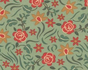 Country Rose Fabric - Honky Tonk by Eric and Julie Comstock for Moda 37083 13 Green -  priced by the 1/2 yard