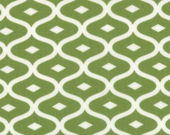 Geometric Fabric - Metro Geometric Ogee from Simply Style by V & Co for Moda Fabrics 10814 17 Lime Green - Priced by the 1/2 yard