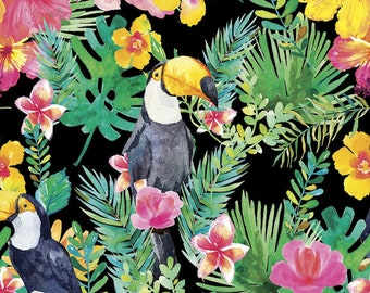 Tropical Fabric - Toucan - 3 Wishes Fabric Tropicale 13779 Black Parrot Floral - Priced by the 1/2 yard