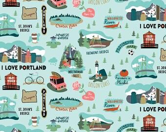 Oregon Fabric - I Love Oregon - Riley Blake - c7580 Aqua (Blue) - Priced by the half yard