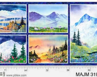 Mountain Fabric - Majestic Mountains - Teresa Ascone Collection for P&B Textiles World Art Group 3199-MU - Priced by the Panel