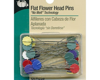 Quilting Pins - Flower Pin - Flat Pin - Pin Weaving - 50ct - Dritz #68 Stainless Steel