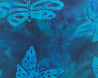 Butterfly Batik Fabric - Artisan Indonesian from Majestic Batiks - D-055 - Blue, Priced by the 1/2 yard