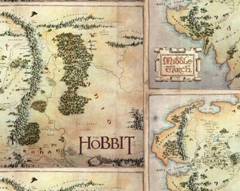 Hobbit Fabric, Lord of the Rings, Shire Map - The Fellowship of the Ring - Camelot 23210103J-1 - Priced by the half yard - Digital Print