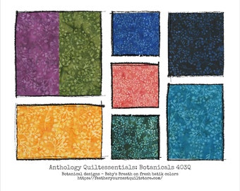 Anthology Batik Fabric - Quiltessentials: Botanicals 403Q - Babys Breath Leaf Design - Choose color -  Priced by the 1/2 yard