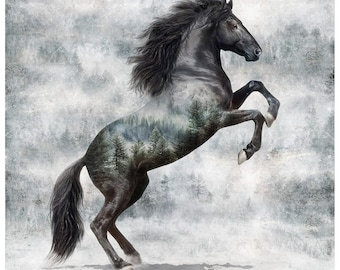 Noir Horse - Stallion - Call of the Wild - Hoffman - 4861-669 - Priced by the 32-inch Panel